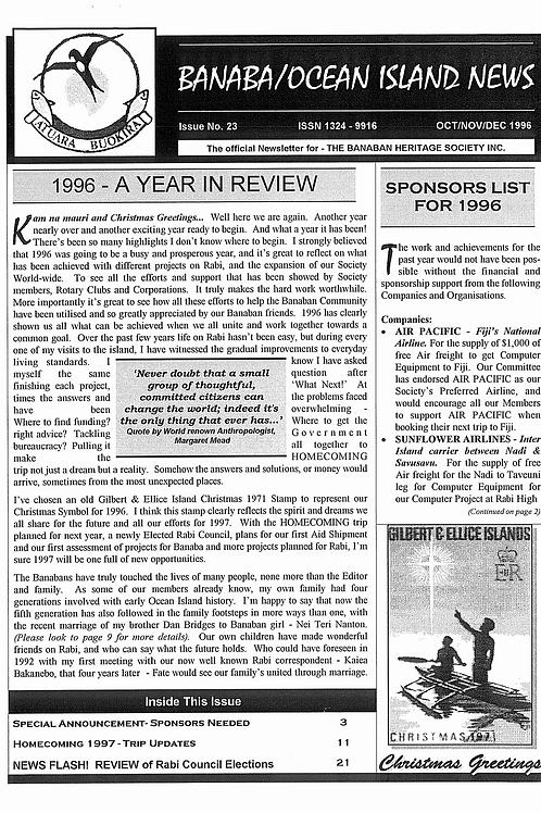 No. 23 Banaba/Ocean Island News Oct-Nov-Dec1996