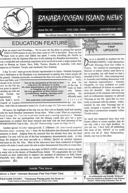 No. 24 Banaba/Ocean Island News Jan-Feb-Mar 1997