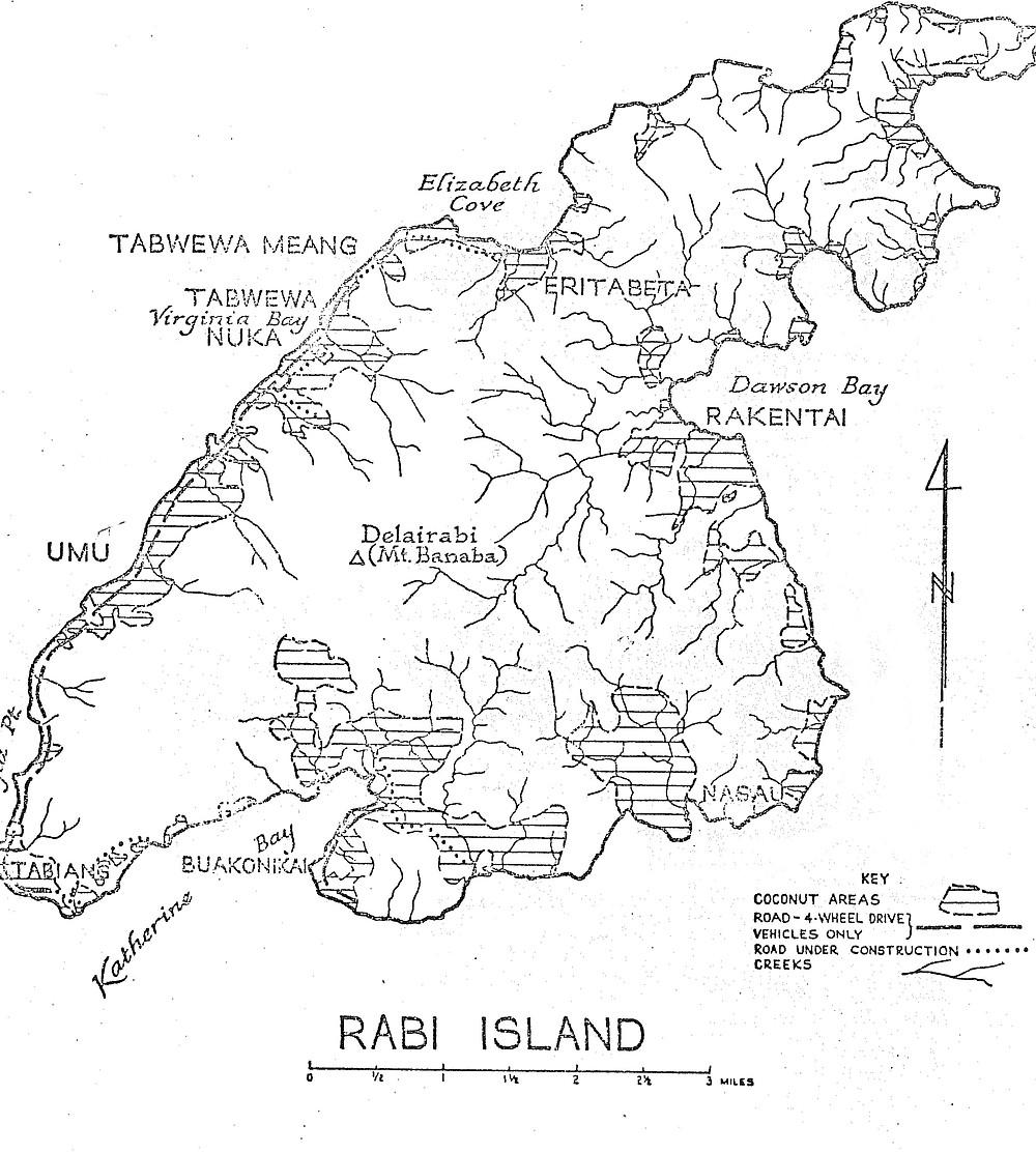 Map Rabi Island, Fiji 1963