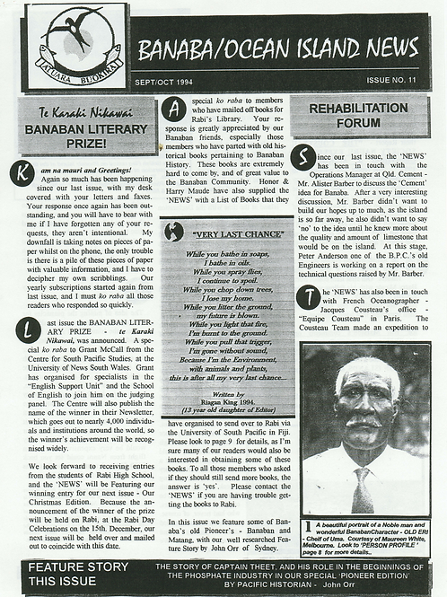 No. 11 Banaba/Ocean Island News Sept-Oct 1994