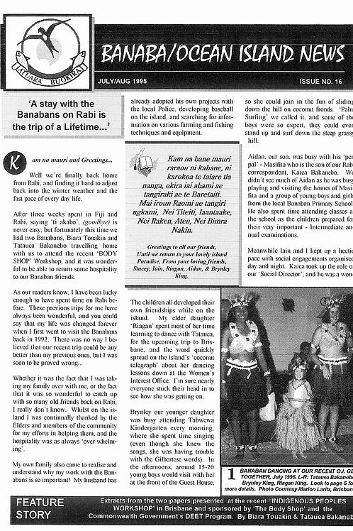 No. 16 Banaba/Ocean Island News  Jul-Aug 1995
