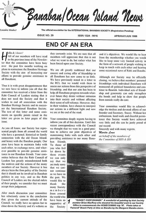 No. 29 Banaba/Ocean Island News Jan-Feb-Mar 1998