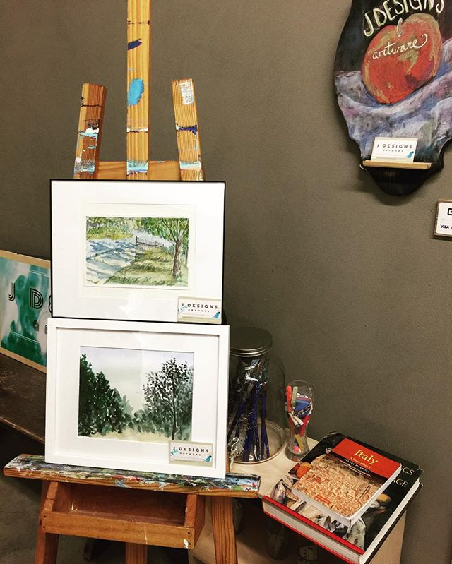 Watercolor display at Western Ave