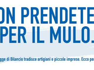 """LEGGE DI BILANCIO – """"NON PRENDETECI PER IL MULO"""""""