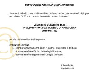 CONVOCAZIONE ASSEMBLEA ORDINARIA SOCI 25 GIUGNO ORE 17,00
