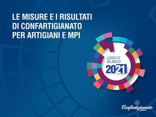 LEGGE DI BILANCIO 2021- I provvedimenti per artigiani e piccole imprese frutto delle battaglie di Co