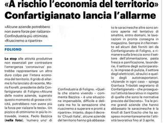 """""""A rischio l'economia del territorio"""" Confartigianato lancia l'allarme"""