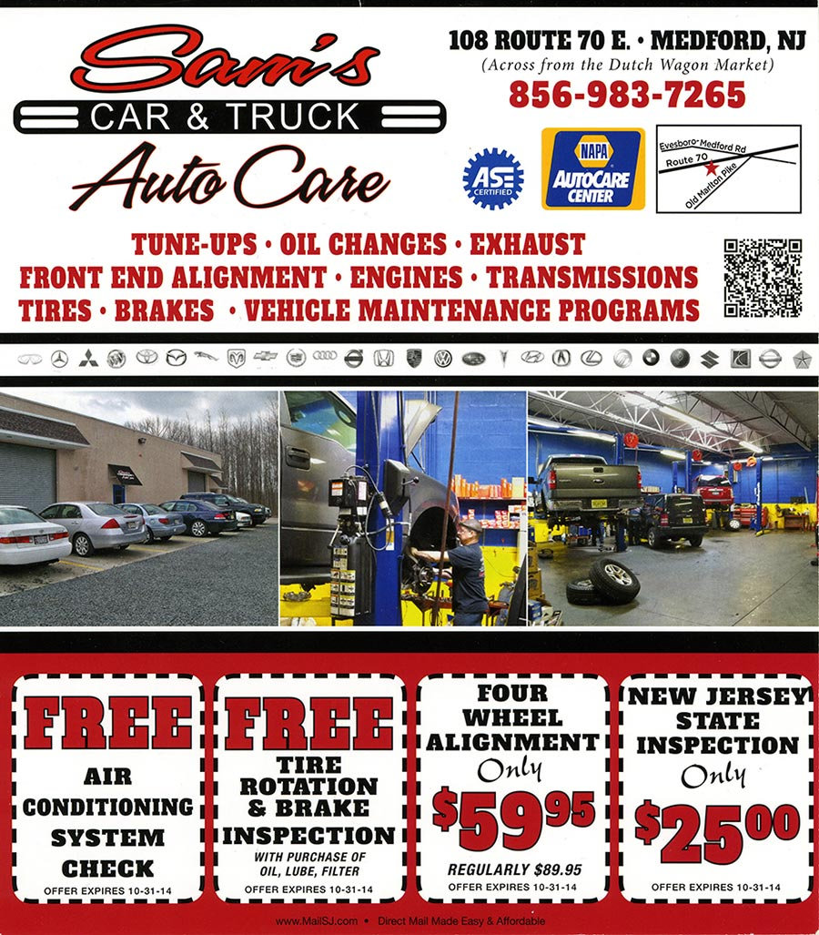Auto and car repair specials in Medford, New Jersey