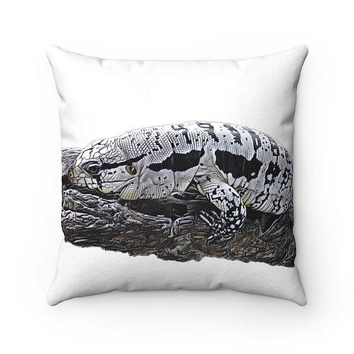 Blizzard Blue  Tegu Square Pillow, Tegu, Lizard, Reptile, Dragon, Tegu World