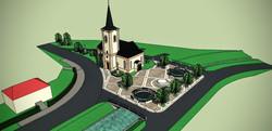 Návrh realizácie parku pri Kostole.