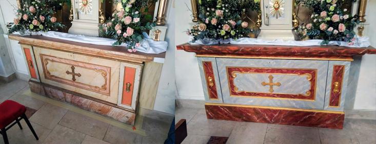 bočný oltár, rekonštrukcia