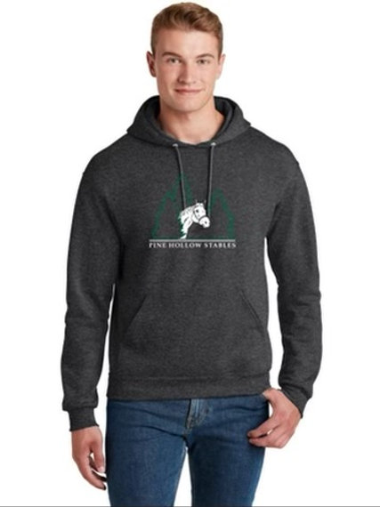 Adult Sweatshirt with White Horse and Green Tree's Logo