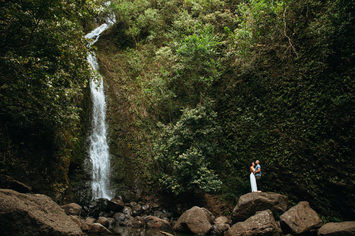 North Shore Oahu Waterfall Hike Mountain Destination Wedding Engagement Session Photograph