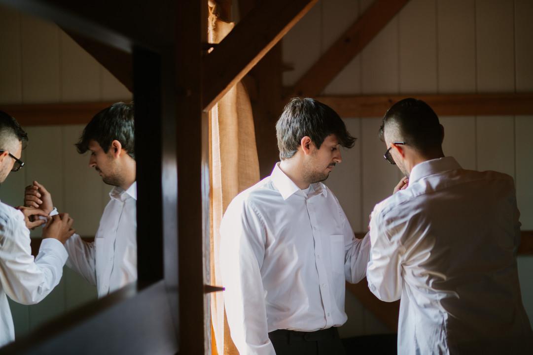 Reflection of groom