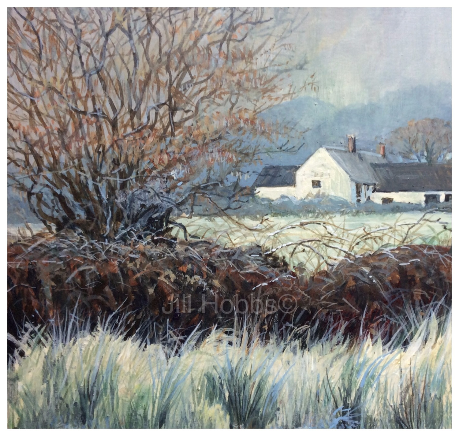 Farm under frost, Between Pontnewynydd and Sebastopol.   Acrylic_edited_edited