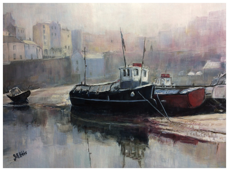 Harbour mist Tenby. Acrylic.