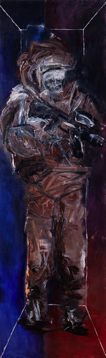 Warrior 2 diptych, 2016, acrylic on canvas, 200X60 each