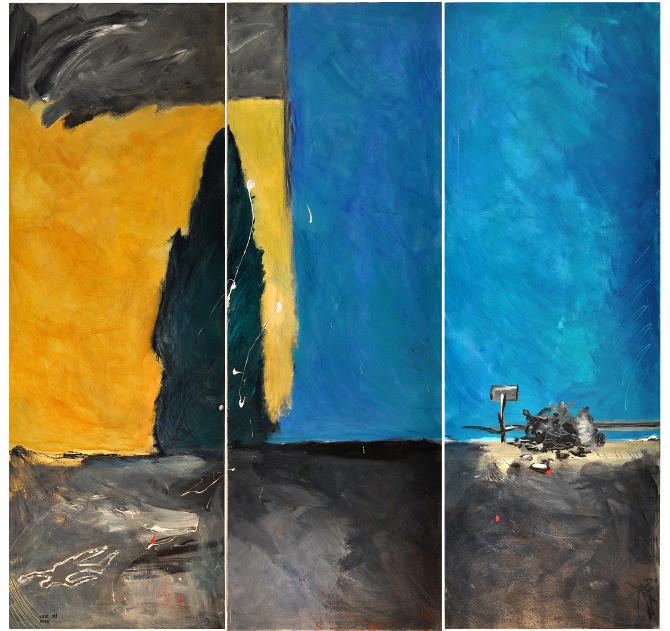 Accident, triptych, 2007, acrylic on canvas, 200X60 each