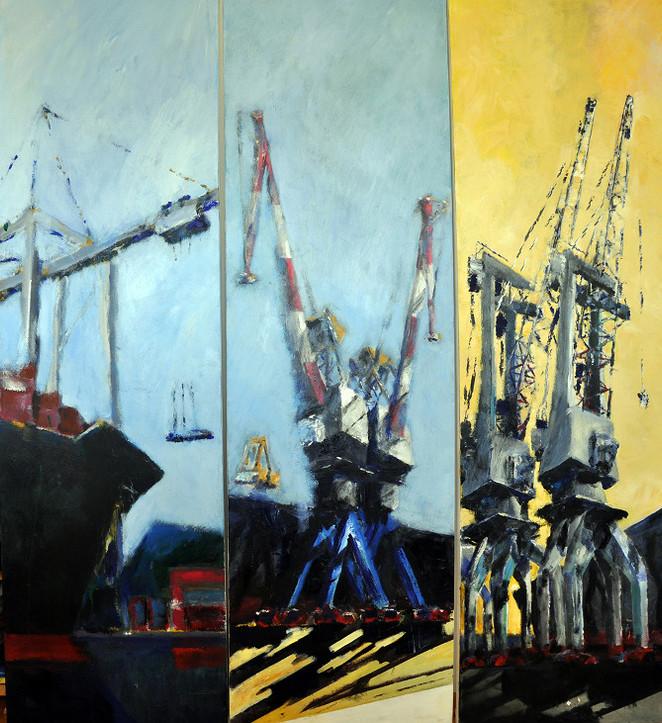 Haifa Port Cranes, triptych, 2012, acrylic on canvas, 200X60 eacht, triptych, 2007, acrylic on canvas, 200X60 each, private collection