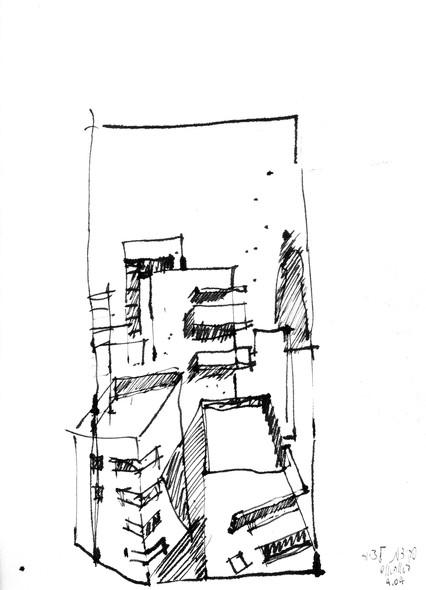 Borochov Street 3 , 2014, ink on paper, 30X22
