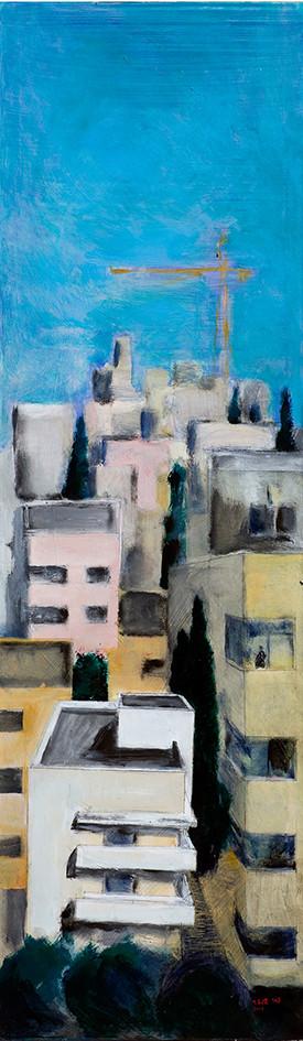 Borochov Street, Tel Aviv, 2014, acrilyc on canvas 200x60
