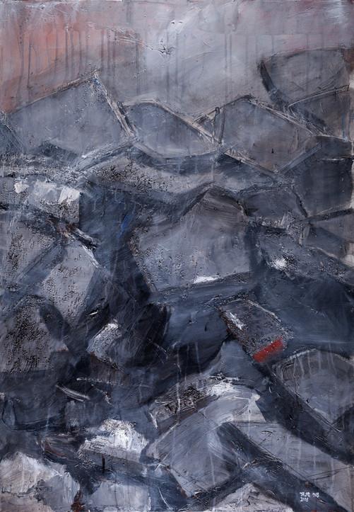 Rubble 1 (Gaza), 2016, acrylic canvas, 100X70