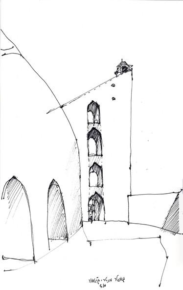 Delhi Jantar Mantar, 2005, ink on paper, 30X20