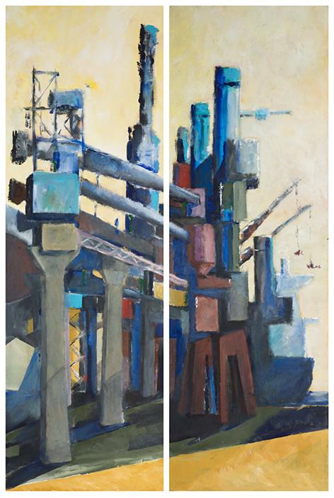 The Grain Silo, Haifa port, Dipptych, 2007, acrylic on canvas, 200X60 each