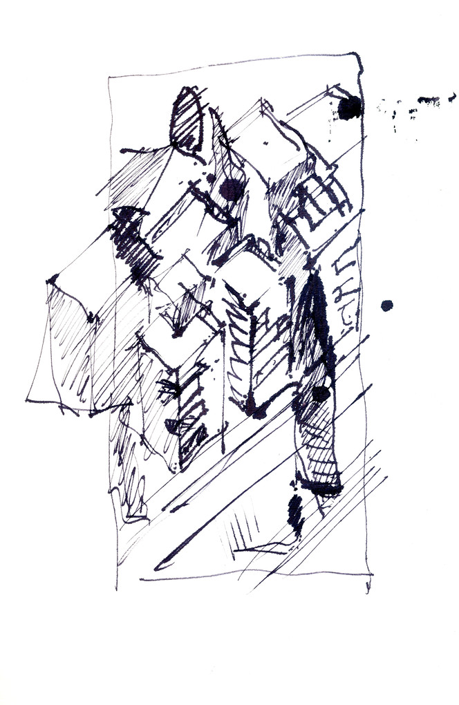 Borochov Street 2 , 2014, ink on paper, 30X22