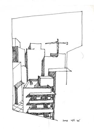 Borochov Street 1 , 2014, ink on paper, 30X22