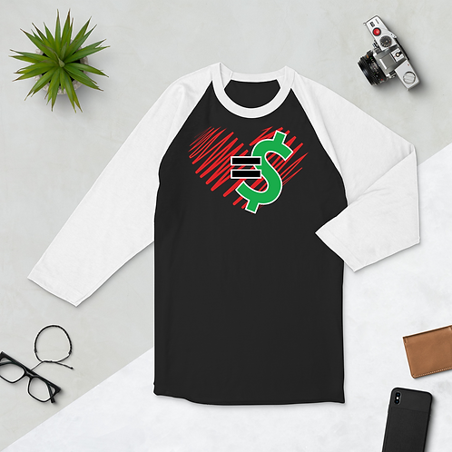 Love = Currency Unisex 3/4 Sleeve Shirt