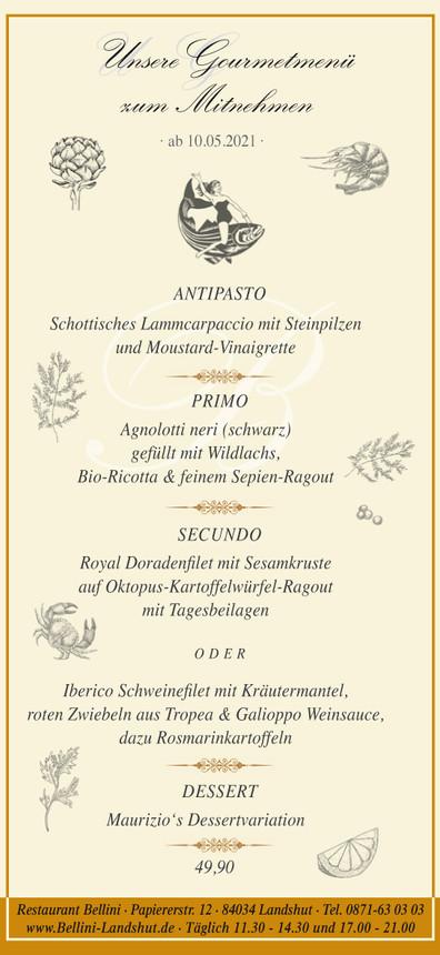 Gourmet Menü ab 10. Mai