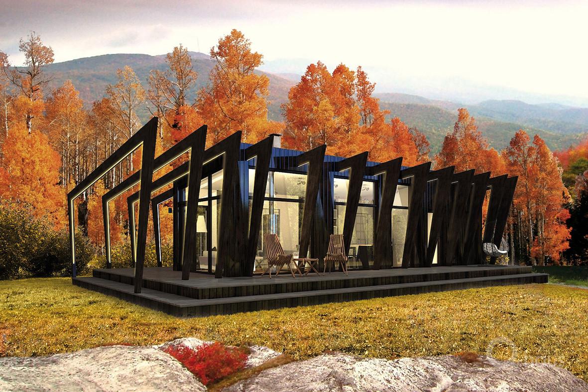 Kompakt aus Glas und Holz: Modulhaus