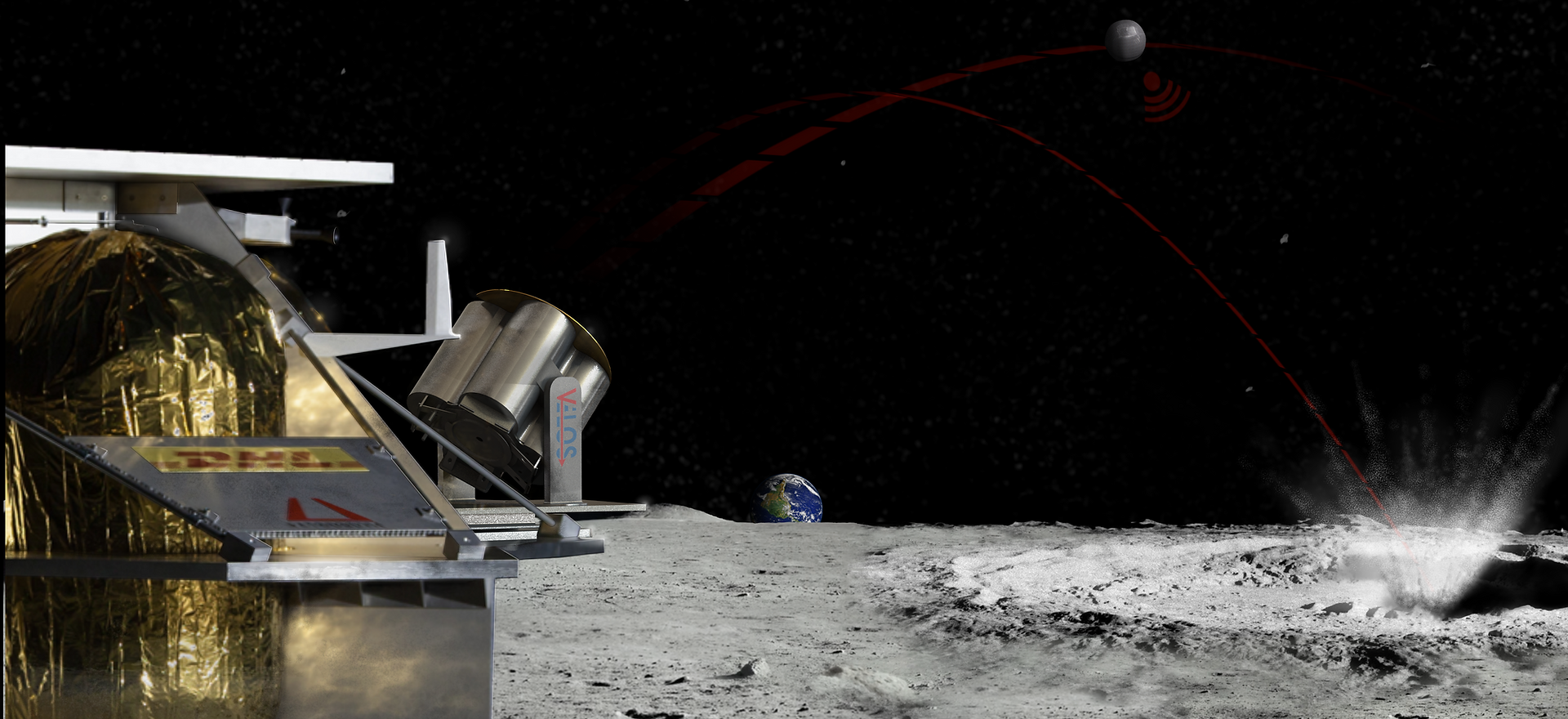 VELOS Launcher on the Peregrine Lander at the Lunar South Pole