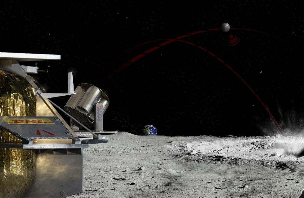 Launcher System aboard the Peregrine Lander at the Lunar South Pole