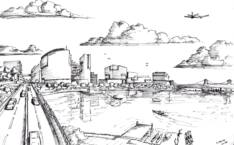 Rual Avenue Bridge Concept Sketch