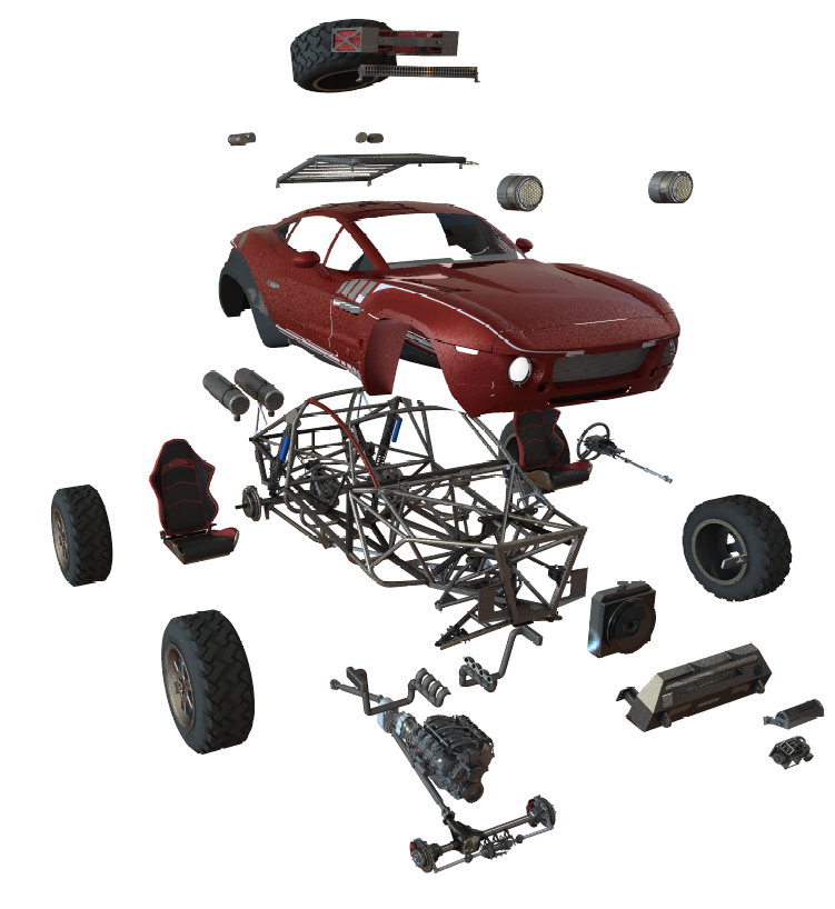 Use of renders to analyze parts in exploded views