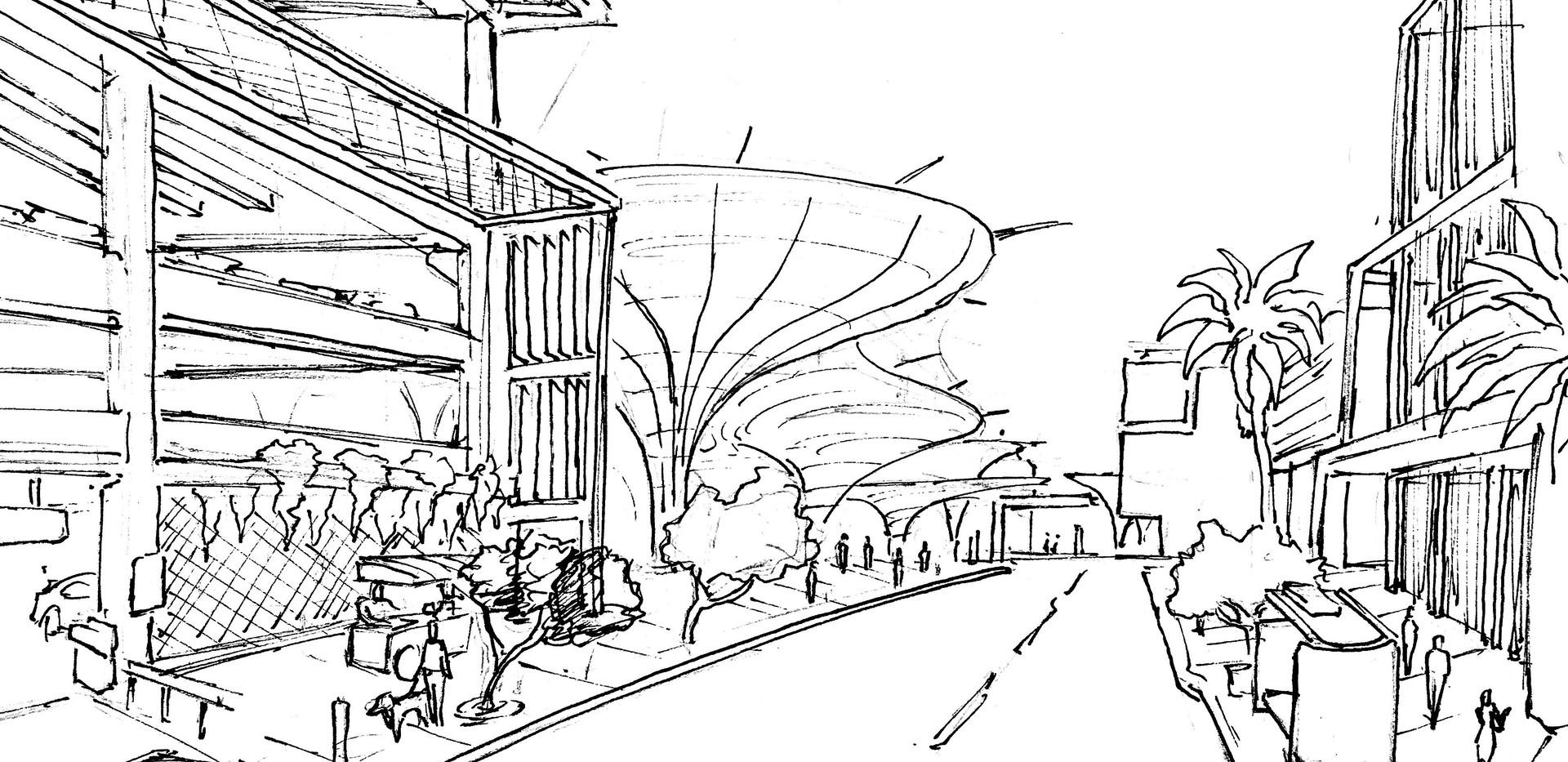 Back Alley To Rio Salado Concept Sketch