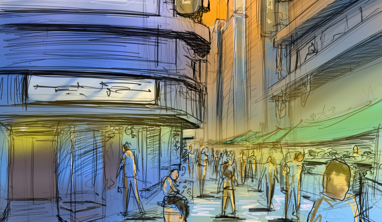 Quick Sketch of a Downtown Cairo Nightmarket