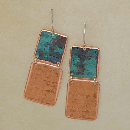 green patina square copper dangle earrings