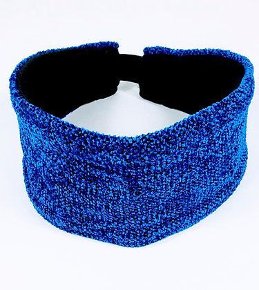 woven cobalt blue headband with black lining and elastic strap