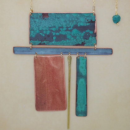 sectional necklace patinated copper green blue