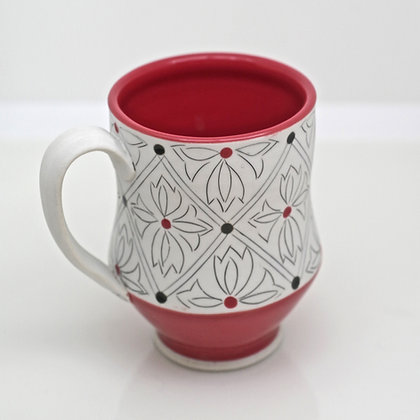 red and white, geometric design, mug