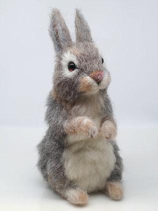 grey needle felted sitting rabbit figure