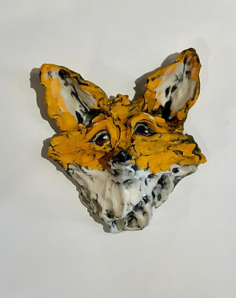 textured clay fox portrait glazed in orange and white