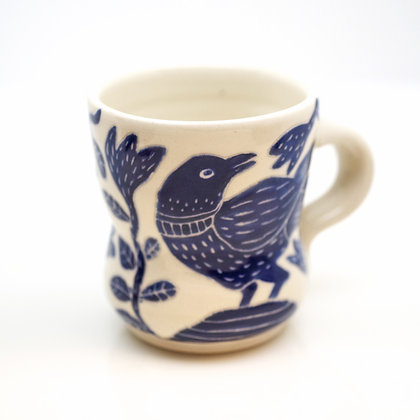 right hand view, cobalt blue handpainted raven on white mug