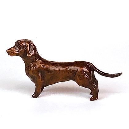 Dog art, Bronze sculpture, Dachshund figurine, Small sculpture original art