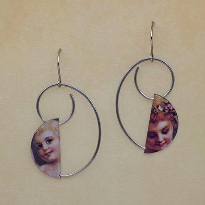 reclaimed litho tin becomes angelic earrings