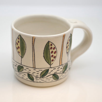 right hand view, stylized garden leaves, white mug
