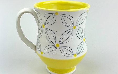 Yellow and White Mug
